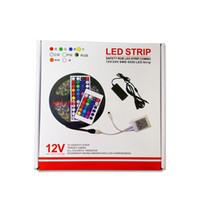 Wholesale 12v dc plugs - SMD 5050 Led Strips RGB Lights Kit Waterproof IP65 + 44 Keys Remote Control + 12V 5A Power Supply With EU AU US UK Plug