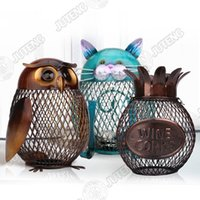Wholesale JTY037 Owl Cat Pineapple Shaped Figurine Piggy Bank Money Box Metal Figurine Coin Box Saving Box Home Decoration Crafts Gift For Kids