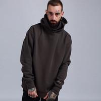 hoodies preppy toptan satış-Kanye Boy Kış Hoodie Hip Hop Erkekler Katı Rahat Gevşek Balıkçı Yaka Kapşonlu Hoodies Sıcak Polar Preppy Bak Lover Kazak