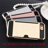 Wholesale Hard Plastic Credit Card Case - For LG LS777 Stylo 3 plus Metropcs Armor Case Brushed Hybrid Rugged Dual Layered Anti-Shock Hard Shockproof Brush Cover Credit card Slot
