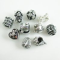 Wholesale spike bracelets fashion resale online - Mix Style Antique Silver Plated Alloy Big Hole Charms Beads fit pandora Bracelet Fashion Silver jewelry Collection