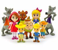 ingrosso l'azione porta-9 pz / set Junior Goldie e Orso Cappuccetto Rosso Maiali Lupo Foresta Amici PVC Action Figure Doll Figurine Toy Cake Topper