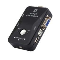 ratón auto teclado al por mayor-Envío gratuito Nuevo 2 puertos VGA USB KVM Switch Splitter Controlador automático Teclado Ratón Impresora Hasta 1920 * 1440