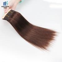 Wholesale Full Silk Kinky Straight - 100g Color 4 Dark Brown Brazilian Silk Straight Body Wave Deep Kinky Curly Soft Full Quality Human Hair Weave Brazilian Remy Hair Bundles