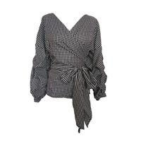 Wholesale Lady S Tie - 2017 Autumn Women Fashion White Black Ruffles Blouse V Neck Ladies Elegant Tops Plus Size Shirts Tops Female Blouses Shirt with Bow Tie