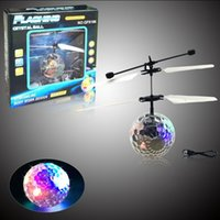 Wholesale Ufo Aircraft Toy - DHL FREE New RC Flying Ball LED Flying Ball Infrared Sense Induction Mini Aircraft Flashing Light Remote Control UFO Toys for Kids Adult