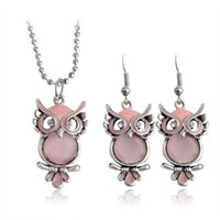 Wholesale Owl Pendant Pink - Owl Branches Pendant Necklace & Earrings For Women Friend Charm Pink Rhinestones Crystal Chain Fashion Animal Jewelry Set Gifts