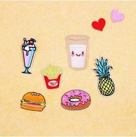 Embroidery Patch French Fries Hamburger Milk Donuts Bordado Ferro Em Patch Badge Bag Applique Artesanato Roupas Acessórios CCA5906 100set
