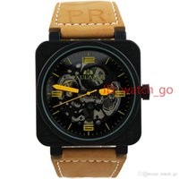 Wholesale Mechanical Watches Skeleton Square - hot selling Luxury Mens Stainless Steel Black Rubber Bell PVD Automatic Mechanical Self-wind male Watches Skeleton Pierced Hollow Blue Red