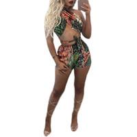 Wholesale Best Sexy Ladies Wear - New arrive best quality 2017 bodycon jumpsuit sexy backless club wear ladies strapless short print jumpsuit M469