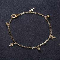 Wholesale Little Korean Jewelry - 4 Styles Stainless Silver Gold Color Korean Accessories Anklet Fashion Simple Jewelry Little Ball and Cross Anklet Wholesale
