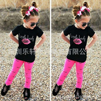 Wholesale Little Girls Outfits Cute - INS 2017 Summer clothes New cute Baby Girls Kids Outfits Sets Cotton Short sleeve Tops Shirts + Harem Pants 2piece set - Little Lady Eyelash
