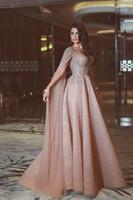 totalmente beaded vestidos de noite venda por atacado-2019 Real Sparkly Luxo Corando Rosa Vestidos de Noite Formais Com Cap Totalmente Frisado Árabe Mulheres Evening Festa de Vestidos Couture Custom Made