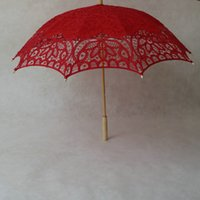 Decoration pagoda lighting - Pagoda Cotton UmbrellasEmbroidery Bride Wedding Umbrella Lace Parasol Adult size Handmade Umbrellas Accessories for Weddings Decorations