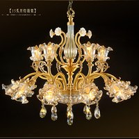 Wholesale Shaded Crystal Chandeliers - living room dining room crystal chandeliers drops copper villa hotel hall Banquet hall modern lighting pendant lamp led light shades