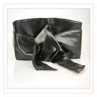 Wholesale black leather sash - 2017 Fashion Accessories Women Belts PU Leather Belt Soft Self Tie Bowknot Band Wrap Around Sash Obi Belts For Women Free Shipping