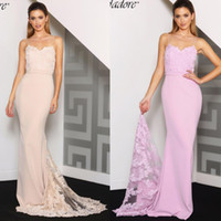 Wholesale sexy wedding evening party dresses for sale - Group buy Hot Mermaid Lace Appliques Bridesmaid Dresses Sexy Backless Spaghetti Straps Sweep Train Formal Evening Party Gowns Wedding Party Dress