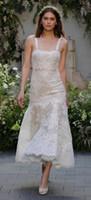 Wholesale Monique Lhuillier Beach - tea length summer beach country lace wedding dresses 2017 monique lhuillier bridal spaghetti neckline white lace bridal wedding gowns