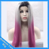 Wholesale Lavender Cosplay Wig - Cosplay Wig Ombre Black Grey lavender Synthetic Lace Front Wig Light Purple Resistant Fiber Synthetic Wig Straight Lace Front Synthetic Wigs