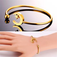 Wholesale Muslim Bracelets - U7 New Skinny Moon Star Bangle Stainless Steel Gold Plated Metal Open Cuff Bracelets for Women Muslim Jewelry Perfect Accessories GH2476