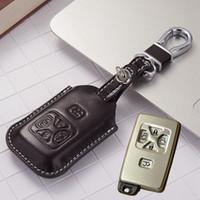 fundas para llaves toyota al por mayor-Funda de cuero del coche llavero Fob para Toyota Vellfire Alphard Accessoriees 2010 2011 2012 2013 Alphard Key Holder con llavero