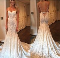 Wholesale New Sexy Sweetheart Spaghetti Straps - 2017 New Sexy Designer Luxury Full Lace Wedding Dresses Sweetheart Spaghetti Straps Backless Berta Mermaid Vestios De Novia Bridal Gowns