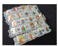 Wholesale Icons Catholic - Top sale 24pcs lot Religious Catholic jewelry Christ bracelet Christian supplies plastic icon enamel Elastic Rosary bracelet drop shipping