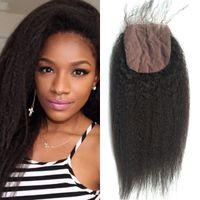 3dc60bd5bdf40b Kinky Straight Brazilian Virgin Hair Closure Natural Black 8-22 inch Silk  Base Closure Coarse Yaki FDSHINE