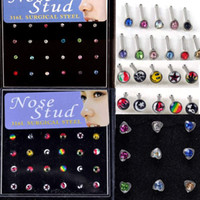Wholesale Nose Studs Pearl - 144 Pcs lot 316L Stainless Steel Womens Body Jewelry Nose Studs Nose Ring Body Piercing