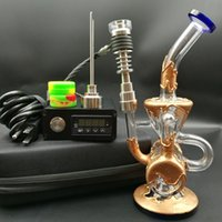 Wholesale copper plating water pipe online - Heady D electric Nail kit E digital Nails heater Coil PID box with Copper plating water pipe oil rig Dab rigs DHL free