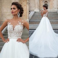 Wholesale lace weddings dresses resale online - A Line Vintage Lace Appliqued Beaded Wedding Dress Bridal Gowns Newest Sexy Scoop Neck Sleeveless Wedding Dresses