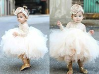 Wholesale Headband Flower Jewel - Lace Applique Ball Gown Flower Girl Dresses For Wedding With Free Headbands Ruffles Long Sleeve Toddler Pageant Dress Long Sleeve Prom Gowns