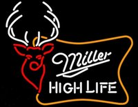 Miller High Life Buck Neon Letrero hecho a mano Real Glass Beer Bar KTV Club Store Art Advertisement Display Letreros de neón Luz 17