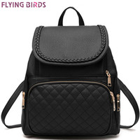 Wholesale School Bag Birds - Wholesale- FLYING BIRDS! student's backpack women leather backpack 2016 luxury brand girls school bags women travel bags ladies LM3365fb