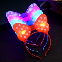 Wholesale Led Party Hair Clips - MINNIE MICKEY MOUSE EARS LED LIGHT UP FLASHING Christmas Butterfly Knot Hair Clip Pins Headbands Halloween Party Rave Luminous Hair Hoop Toy