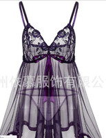 Wholesale Dresses Trade - XL-6XL Europe and the United States sexy lingerie foreign trade sexy perspective skirt lace chiffon dress dress 8071