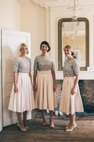 Wholesale Sequin Half Sleeves Tops - Tea Length Blush Two Piece Bridesmaid Dresses Country A-Line Sequin Top Elastic Satin Skirt Half Sleeves Wedding Party Maid of Honor Dresses