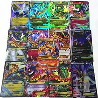 Wholesale 13 Mega - New 60 Pcs Set EX Poke Ball Mega Cards Shine English XY Pocket 13 Mega + 47 Exs No Repeat Playing Monster Games Cards