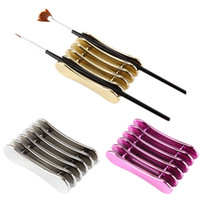 ingrosso porta spazzola-Carving UV Gel Crystal Pen Carrier Storage Manicure Strumento Nail Art Brush Rack 5 Grid Accessorio Stand Holder per Nail Salon