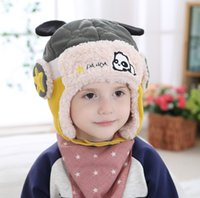 Wholesale Super Thick Girls - Children Boy Girl Trapper Hats Super Thick warm Ski Cap With Ear Leifeng Trooper Snowboard Winter Aviator Bomber Earflap Kids 77