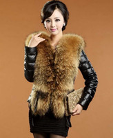 Wholesale Leather Rabbit Coat - Winter Women Outerwear Fox Fur Collar Rex Rabbit Fur Coat women's fur jackets Overcoat coat coats Tops Leather Faux Leather