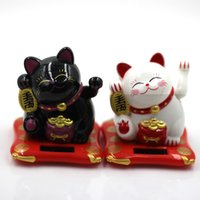 Wholesale Fashion New Black White Solar Powered Maneki Neko Welcoming Fortune Cat Lucky For Home Car Hotel Restaurant Decor Craft