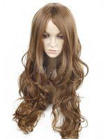 largo kanekalon al por mayor-Kanekalon marrón claro pelucas de cabello largo para mujer sintético peluca llena Envío Gratis