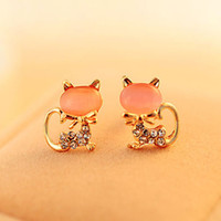 Wholesale Cat Crystal Stud Earrings Gold - Hot Opal Stud Earrings Cute Diamond Cat Ear Studs Fashion Brand Crystal Animal Earrings For Women Mixed 3 Colors
