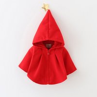Wholesale red hooded poncho - baby girls autumn winter outwear Christmas clothing poncho new children clothes Christmas winter coat