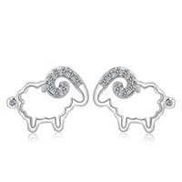 Wholesale Fashion earrings silver sheep stud earring silver jewelry earring stud animal earrings decoration Zodiac Jewelry E111