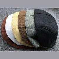 ingrosso appartamenti di lino-All'ingrosso-Muilty Colore Unisex Newsboy Flat Cabbie Lino Beret Duckbill Golf Driving Cap Hat Boina Alta qualità