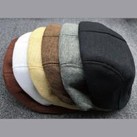 Wholesale-Muilty Color Unisex Newsboy Flat Cabbie Linen Beret Duckbill Golf Driving Cap Hat Boina High Quality