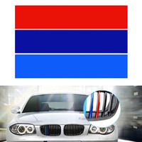 Wholesale Front Grill Cover - Car Styling PVC Front Grill Stripes Cover Decals M power Sport Stickers for BMW M3 M5 M6 E46 E39 E60 E90 CDE_00H