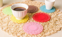 Wholesale Heated Coffee Cup Pads - Heat - Sold Kitchen Insulated Bowl Mat Candy Color Translucent Lace Silicone Cup Mat Anti-slip Coffee Cup Pad